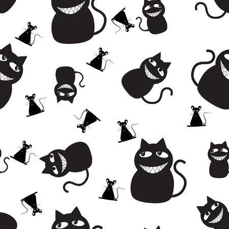 monochrome: Black cats family seamless texture