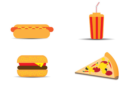 hot dog: Fast food vector set
