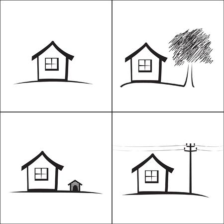 abode: House icons set
