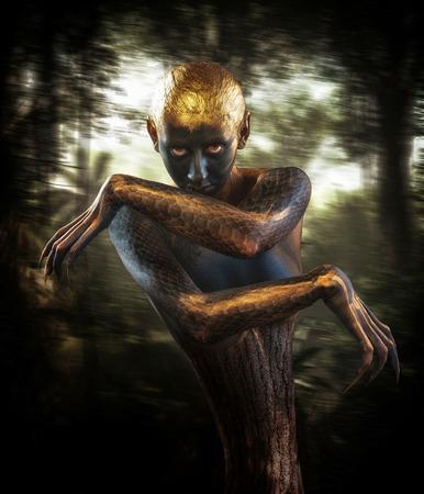 creatures: Forest guardian, fantasy style portrait Stock Photo
