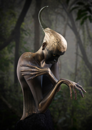 fantasy alien: Forest guardian, fantasy style portrait Stock Photo