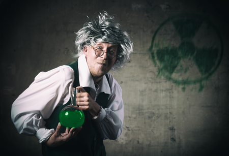 scientist man: Portrait of a crazy scientist