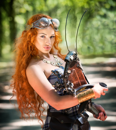 grig: Portrait of a redheaded steampunk woman with her mechanical pet