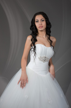bride dress: Beautiful brunette bride