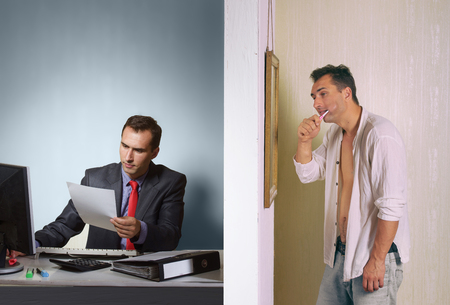 sponger: Man at work and man at home, two side of a person