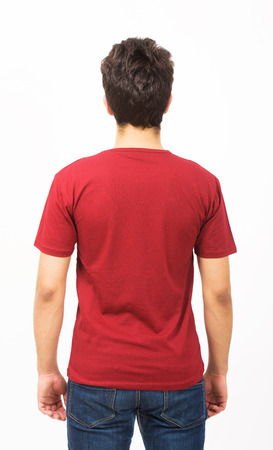 red tshirt: Man in red t-shirt, back view Stock Photo
