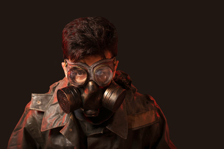 stalker: yberpunk stalker soldier in chemical protection armor and googles Stock Photo