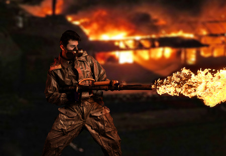 devastating: Soldier with flamethrower. Fire city background
