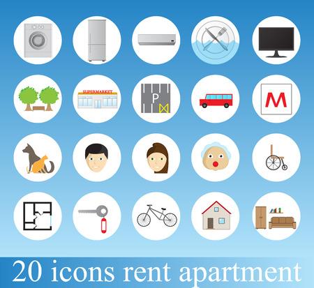 amenities: Rent apartment - colorful icon set Illustration
