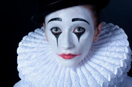mimo: Pierrot Mime triste, retrato Foto de archivo