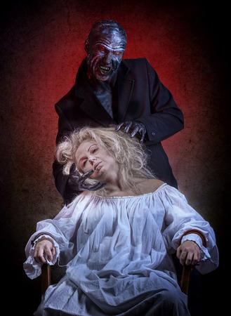 bedlam: Insane woman and her inner monster Stock Photo