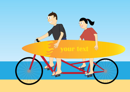 couple in summer: Funny couple on summer vacation Illustration