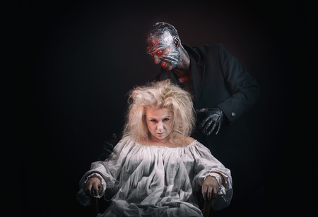 madhouse: Insane woman and her inner monster Stock Photo