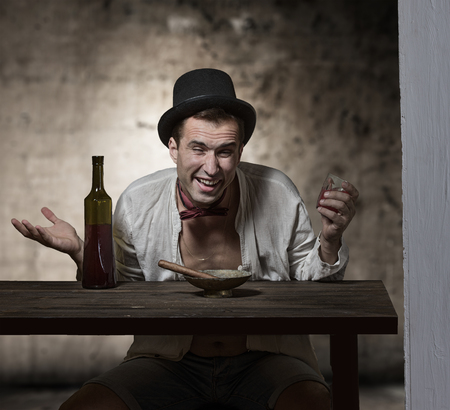 unwholesome: Retro style portrait of the drinking man Stock Photo