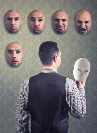 dissimulation: Man choosing a mask