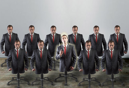 slaves: Castor legged corporate slaves, concept Stock Photo