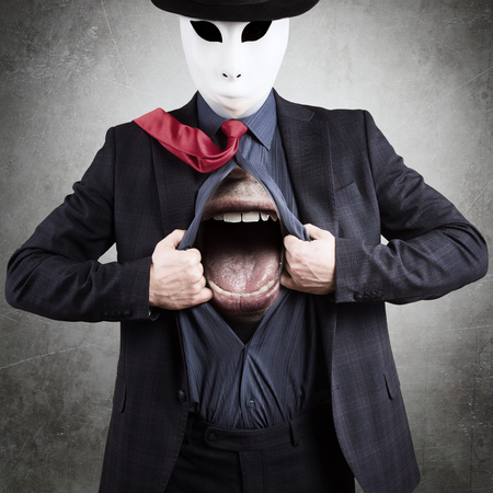 Man in mask with a huge mouth under his clothes