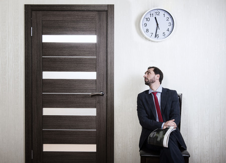 fidgety: Waiting for a job interview Stock Photo