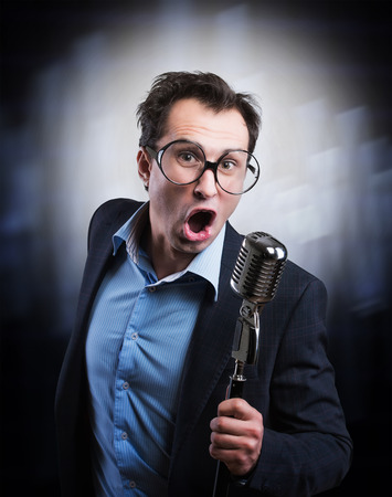 Expressive showman Stock Photo