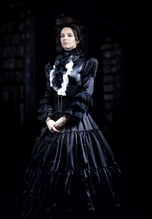 century: Stylized portrait of a victorian lady in black Stock Photo