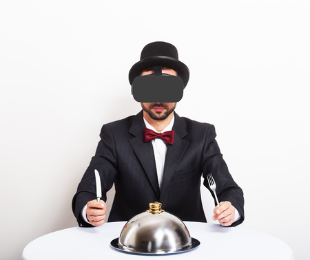 Virtual dinner concept Imagens