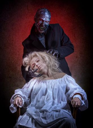 Insane woman and her inner monster Stock Photo