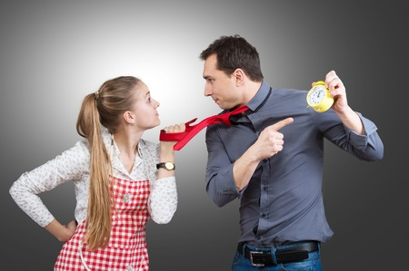reproach: Married couple fighting about housework