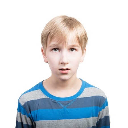 Concept of screaming boy. Studio portrait.
