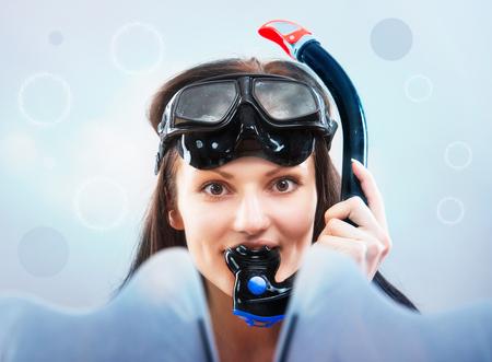 Portrait of a girl in snorkeling gear Stock Photo