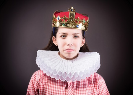 Portrait of the crowned girl. Stock Photo