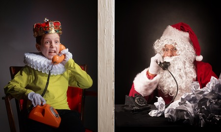 Boy calls to Santa and tell about his wishes for the christmas presents.