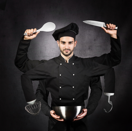 portrait of a chef with many hands on gray background. Kitchen machine concept.