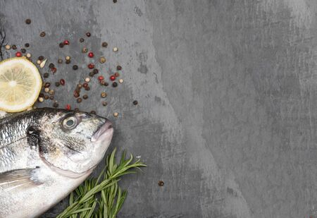 Fresh fish dorado. Dorado and ingredients for cooking on a concrete background.