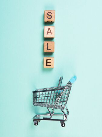 A miniature shopping cart and wooden blocks with the wordings SALE, isolated against mint background. 写真素材