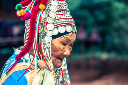 tribes: Old woman, Karen Hills tribes, Chiang Rai province, Thailand