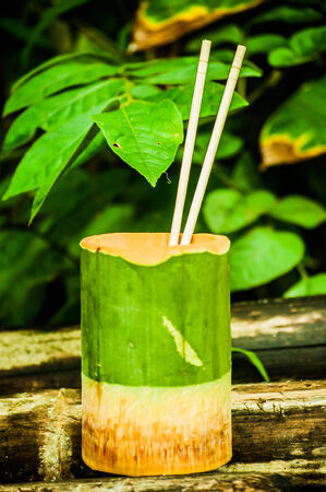 Bowl for eating, made in bamboo, jungle, Chiang Rai province, Thailand Stock Photo