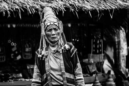 Portretten Karen Hill's Tribes BW, Akha mensen, stammen Karen Hill's, Chiang Rai, het noorden van Thailand