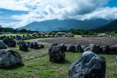 Mountains and mysterious stones circle, scenery in Hualien, Taiwan