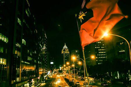 trafic: Taiwanese flag, Taipei by night, Taipei, Taiwan Stock Photo