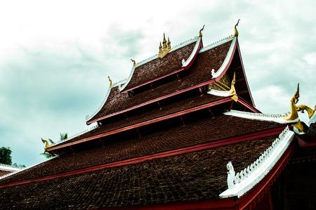 Roof of a temple Luang Prabang Laos Stock Photo