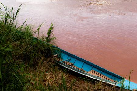 Boat on the banks of the Mekong Luang Prabang Laos Stock Photo