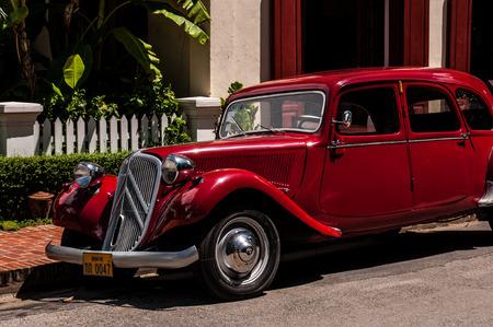 Old red car in Luang Prabang Laos