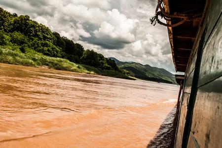 From a slow boat between Pakbeng and Luang Prabang Laos Stock Photo