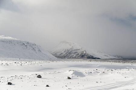 Langjökull glacier, the long glacier, is Iceland's second largest glacier. 版權商用圖片