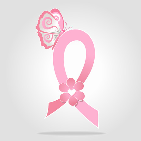 Breast cancer awareness pink ribbon with butterfly Illustration