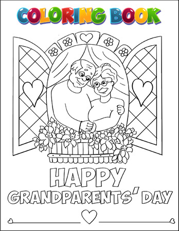 clip art draw: Coloring book Grandparents Day illustration. Illustration