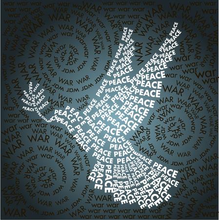 simbolo della pace: colomba della pace in parole sfondo guerra Word. Giorno correlate a forma di simbolo della pace Vettoriali