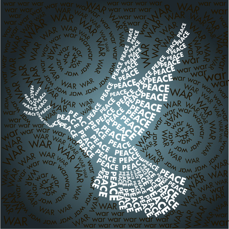 peace movement: dove of peace in the words background Word War. Day related in shape of peace symbol