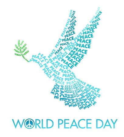 paloma de la paz: Día Internacional de las plantillas Cartel de la Paz con la paloma de letras sobre un fondo blanco