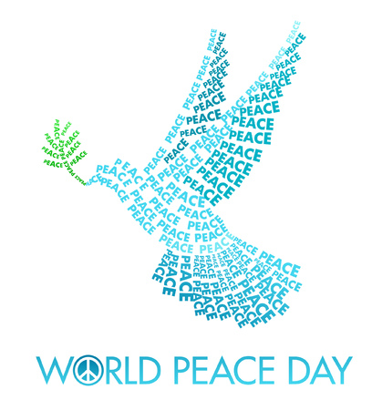 world peace: International Day of Peace Poster Templates with Dove of letters on a white background